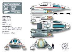 Star Trek Shuttle Type 9 by Paul Muad Dib (Note: This schematic has the length at 12.5 meters, which would correspond to an internal clearance allowing a full-grown man to stand upright; however other [more reliable] sources on the interwebs indicate a length of 8.5 meters. I think this smaller figure should be taken as cannon, and we should disregard the somewhat exaggerated interior shots of this compact shuttle.)