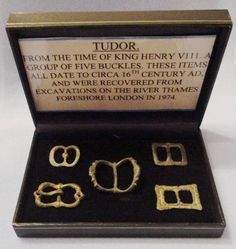 A Group Of Five Tudor Period Buckles. A group of five tudor period buckles.These items which date to circa 16th century AD, were found in excavations on the thames foreshore london in1974.They include buckles made of bronze and of lead ,some which are decorated whilst others of plain form . One item still retains some of its original gilding and is of wonderful style and form.