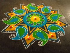 Kolam by Shanti Sridharan Rangoli Designs Latest, Simple Rangoli Designs Images, Rangoli Designs Flower, Rangoli Border Designs, Rangoli Patterns, Colorful Rangoli Designs, Rangoli Ideas, Rangoli Designs Diwali, Kolam Rangoli