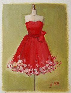The Red Flutter Dress Original Oil Painting On by janethillstudio