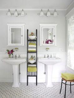 wrap around pedestal sink storage