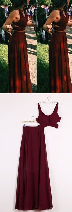 Two piece red long dress