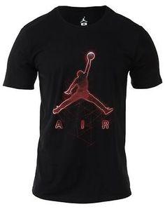 Nike Jordan Jumpman Bright Lights Tee Mens 689123-010 Black Red T-Shirt Size 2XL