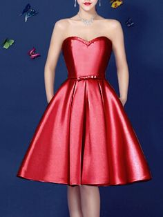 Red Sweetheart Bowknot Waist Lacing Back Strapless Prom Skater Dress   Choies