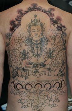 buddha back piece tattoo – Tattooing & Art by Yoni Zilber Great Tattoos, Body Art Tattoos, Back Piece Tattoo, Religious Tattoos, Cool Tats, Back Pieces, Irezumi, Tattoo Artists, Tatting