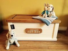 Personalised toy box, bespoke, soft close lid, customised name plaque. Personalised Wooden Toy Box, Wooden Toy Boxes, Personalized Plaques, Wooden Diy, Wood Wax, Name Plaques, Toy Chest, Kids Room, Colours