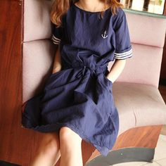 Preppy Style Embroidery Anchor Cotton Linen Casual Dress Female Crochet Lace Sweep Vestidos Women O Neck Girls Navy Dress, Girls Dresses, Navy Girl, Women's Dresses, Navy Blue, Short Sleeve Dresses, Dresses With Sleeves, Preppy Style, Navy Style