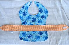 Baby Boy Less Mess Apron Bib  blue octopus / orange by EagerBaby
