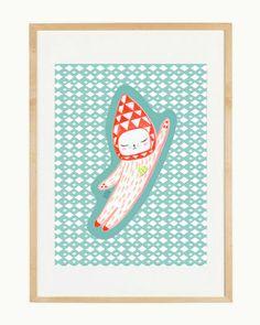 Artprint Astro Cat Pastels serie by IzumiIdoiaZubia on Etsy, €12.00
