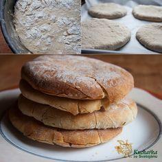Kuchařka ze Svatojánu: PITA CHLÉB Pitta, Hamburger, Nom Nom, Pancakes, Bread, Breakfast, Recipes, Food, Cooking Ideas