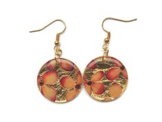 Pink Hydrangea earrings with gold leaf by AmazoniaAccessories, €10.50