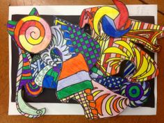 Paper sculpture- we will look at the art of Frank Stella and using cardboard , tagboard, and French curve stencils, we create 3-d. Paper sculptures.