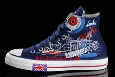 1fa7aca67fda Blue Converse British Flag High Tops London Building Printed Canvas  Transparent Soles Shoes Converse All Star