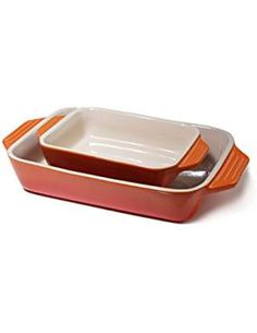 Le Creuset Stoneware Flame 2 Piece Rectangular Casserole Dish Set *** Find out more about the great product at the image link. (This is an affiliate link) Casserole To Freeze, Casserole Dishes, Le Creuset Stoneware, Bakeware, Kitchenware, Casseroles, Image Link, Amazon, Advertising