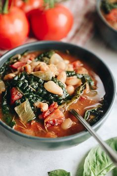 This filling Tuscan White Bean Soup is packed with vegetables and flavor for a fun twist on a classic italian Ribolitta recipe. It's gluten-free and vegan and made in one-pot for easy prep and clean-up. #glutenfree #vegan #soup #healthysoup Healthy Soup Vegetarian, Vegan Soup, Healthy Soup Recipes, Gluten Free Recipes, Healthy Meals, White Bean Soup, White Beans, The Healthy Maven, Bowl Of Soup