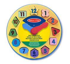 Teaching Clocks - Melissa  Doug Wooden Shape Sorting Learning Clock * Visit the image link more details.