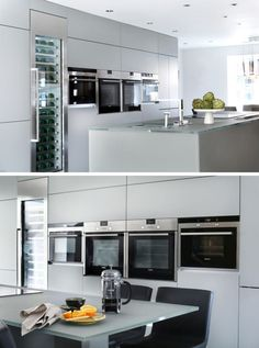 12 Examples Of Sophisticated Gray Kitchen Cabinets // A Wall Of Light Gray  Cabinets Match