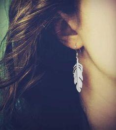 Silver Feather Earrings.