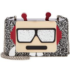 Karl Lagerfeld Robot Minaudiere (10.525 RUB) ❤ liked on Polyvore featuring bags, handbags, clutches, black, glitter clutches, glitter handbags, karl lagerfeld, chain handle handbags and karl lagerfeld handbags