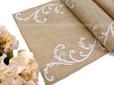 Silver Wedding Table Runner Wedding table decor Burlap table runner country wedding table decor by Hot Cocoa Design