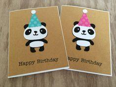 Panda Bear Birthday Card, Happy Birthday Gift, Polka Dot Party Hat, Cute Panda Bear Card, Safari birthday, Girl Birthday, Boy Birthday