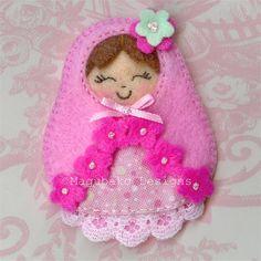 Matryoshka Doll Hair Clip  Felt and Fabric by MagubakoDesigns
