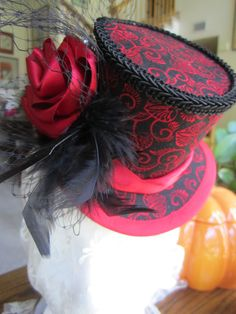 Women's, Steampunk, Victorian, Moulin Rouge, Halloween, Gothic, Mini Top Hat. $79.00, via Etsy.