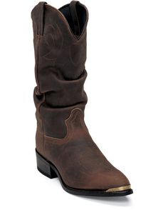 "Men's 13"" Western Gambler Slouch Boots - Distressed Tan"