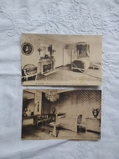 2 pcs antique, French BW photo-postcards, rooms/chambre of Napoleon, Marie Antoinette, enterior, castle, Versailles 1910-1920s' Photo Postcards, Marie Antoinette, Etsy Shipping, Vintage Yellow, Versailles, Napoleon, Postcard Size, Picture Wall, French Antiques