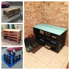 I took a couple palettes and turned them into a shoe rack bench following this tutorial: http://www.between3sisters.com/2011/11/diy-pallet-shoe-storage-bench-3215.html