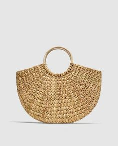 Image 2 of STRAW BAG WITH ROUNDED HANDLES from Zara