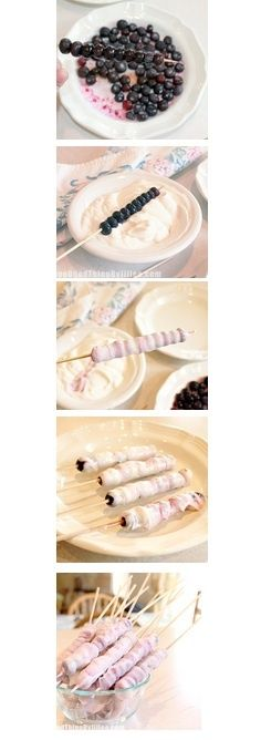 Skewer blueberries, dip into any flavoured yogurt and freeze for a quick, healthy snack. Yum!!
