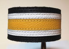 Black white and yellow leather bracelet by ChristyKeysCreations, $20.00