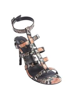 9f52612e0f03 Charles by Charles David brown and black snake embossed leather heel sandals