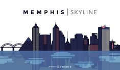Memphis skyline design in dark tones. You can see the most important buildings and it also says Memphis Skyline. Memphis Skyline, Memphis City, Skyline Tattoo, Layout Design, Ad Design, Skyline Design, Material Design Background, Memphis Design, Layout Template