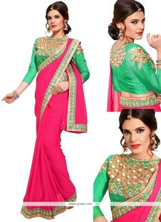 Magnificent Georgette Pink Designer Saree Model: YOSAR6580