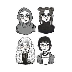 Glasses ♥♥♥ ( Thank you guys for the love & support! I promise to share more art in 2017 ) #illustration #art #drawing #doodle #procrastiartist #glasses #girls