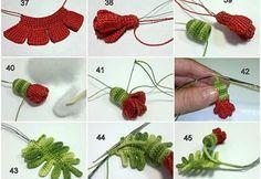 ergahandmade: Big Crochet Poppy + Free Pattern Step By Step Poppy Crochet, Crochet Poppy Free Pattern, Crochet Cactus, Crochet Flower Tutorial, Crochet Leaves, Knitted Flowers, Crochet Flower Patterns, Freeform Crochet, Crochet Art