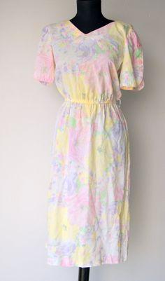 Vintage Floral Pastel Day Dress by Periwinkle