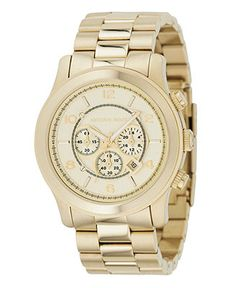 Michael Kors Watch, Men's Runway Gold-Tone Stainless Steel Bracelet 44mm MK8077 - All Watches - Jewelry & Watches - Macy's