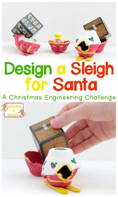 Become a Christmas engineer with this simple sleigh building challenge using egg cartons! Kids will love this Christmas STEM challenge.