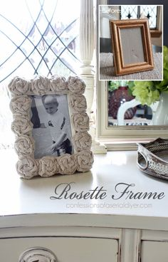 Dress up  a plain frame with sweet drop cloth rosettes! Video tutorial included!