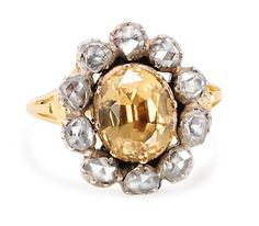 Celestial Halo: Georgian Topaz Diamond Ring - The Three Graces