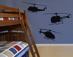 muursticker muurtattoo SF517 Bell Helicopter Set