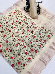Pure Organza silk With Embroidery Saree