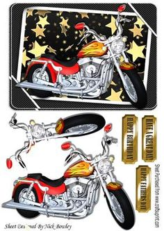 Customized motorbike with flames and gold stars in frame on Craftsuprint - Add To Basket!