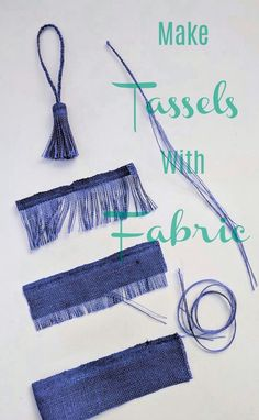 Make tassels with fabric that's a perfect match -or not. Get the matching or con… Make tassels with fabric that's a perfect match -or not. Get the matching or contrasting color tassels for your sewing projects by pulling some threads. Sewing Hacks, Sewing Crafts, Sewing Projects, Diy Projects, Club Couture, How To Make Tassels, Denim Crafts, Diy Tassel, Fabric Jewelry