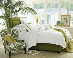 Wonderful 39 Bright Tropical Bedroom Designs : 39 Bright Tropical Bedroom Designs With White Green Wall Bed Pillow Blanket Nightstand Chair Lamp Plant Decor Carpet Magazine And Big Window And Hardwood Floor