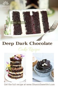 The Easiest Deep Dark Chocolate Cake Easy, no fail, deep dark chocolate cake recipe. The most chocolatey and moist chocolate cake you have ever had. Dense but not heavy with the perfect crumb. Deep Dark Chocolate Cake Recipe, Hot Chocolate Cupcakes, Ultimate Chocolate Cake, Dark Chocolate Cakes, Chocolate Flavors, Chocolate Recipes, Sweet Desserts, Easy Desserts, Cake Recipes