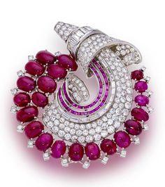 An art moderne diamond and ruby brooch, Trabert & Hoeffer-Mauboussin, circa 1935